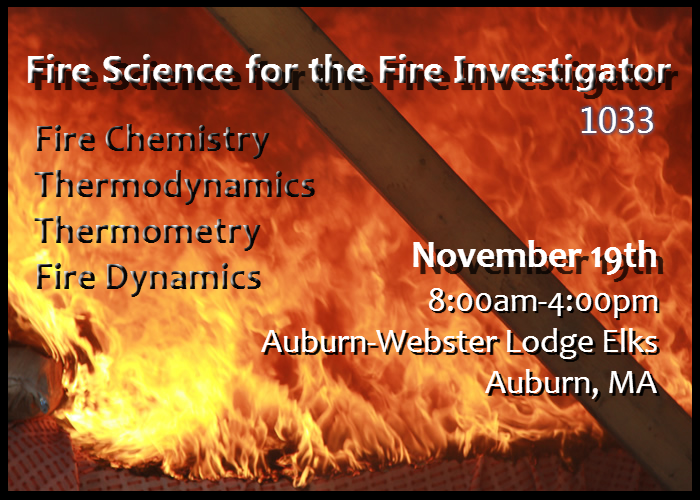Thank You for Attending Our November Seminar: Fire Science and the Fire Investigator